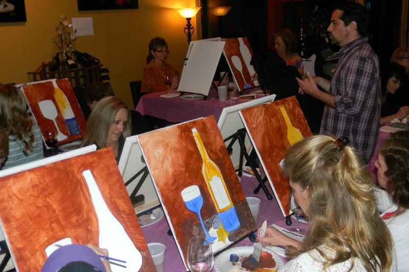 Wine down wednesdays paint and sip studio la diy for Wine and paint orlando