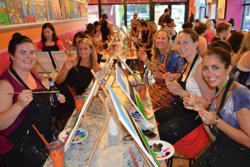 Paint sip party saratoga saratoga paint sip studio for Wine and paint boston