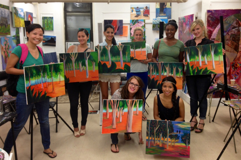 Byob one night painting and wine party the art studio ny for Wine and paint boston