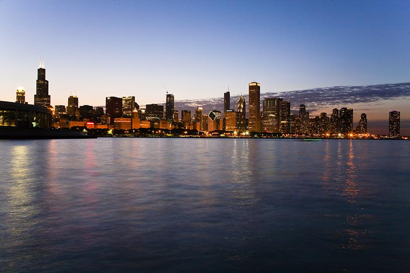 Chicago Skyline Sunset
