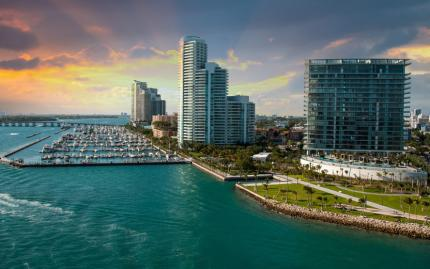 Miami Beach Sunset Aerial